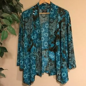 Southern Lady Sparkly Sequin Blue Floral Cardigan